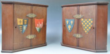 PAIR OF VICTORIAN SCHOOL MINIATURE CORNER CUPBOARDS