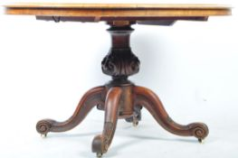 19TH CENTURY VICTORIAN WALNUT AND MAHOGANY BREAKFAST / LOO TABLE