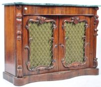 19TH CENTURY VICTORIAN ROSEWOOD AND MARBLE SERPENTINE SIDE CABINET