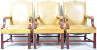 INCREDIBLE SET OF THREE LEATHER AND MAHOGANY GAINSBOROUGH CHAIRS