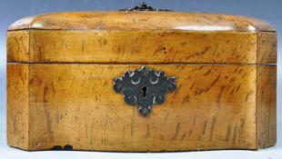 19TH CENTURY ANTIQUE OAK TRIPLE SECTION TEA CADDY