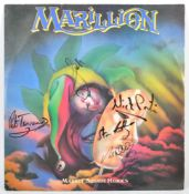 "MARILLION SIGNED MARKET SQUARE HEROES 12"" SINGLE AND SHOWCARD"