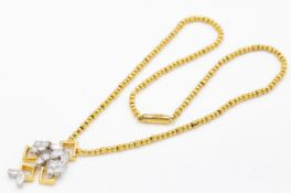 A Hallmarked Kutchinsky 18ct Gold & Diamond Pendant Necklace