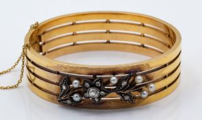 An Antique French 18ct Gold Diamond & Pearl Hinged Bangle