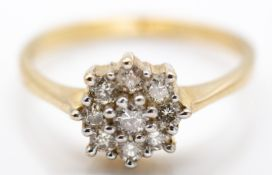 9ct Hallmarked Yellow Gold and Diamond Cluster Ring