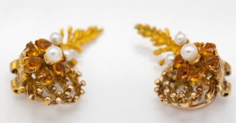 9ct Gold Hallmarked Garnet & Pearl Flower Head Earring Clips
