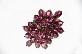 9ct Gold Rubellite Tourmaline & Diamond Cluster Ring