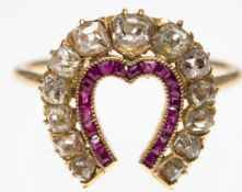 Antique Ruby & Diamond Horseshoe ring