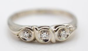 14ct White Gold And Diamond Columbian Three Stone Ring
