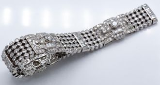 A French 18ct Gold & Platinum Diamond Bracelet