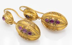 Victorian Gold & Garnet Drop Earrings