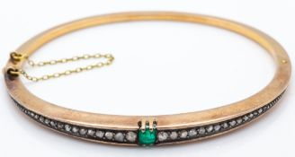 An Antique 18ct Gold Emerald & Diamond Hinged Bangle