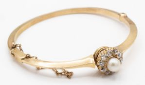 A French 18ct Gold Diamond & Pearl Hinged Bangle