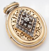 Antique French 18ct Gold Platinum Silver Diamond Pearl Locket Pendant