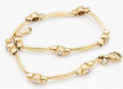 9ct Gold and CZ Adorned Bracelet Chain