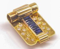 An Art Deco 18ct Gold French Sapphire & Diamond Dress Clip