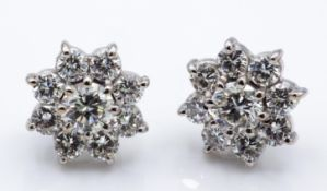 A Pair of 18ct White Gold & Diamond Cluster Earrings