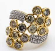 Lorique Hallmarked 18ct Gold Fancy Colour Diamond Ring