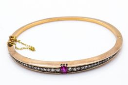 An Antique 18ct Gold Ruby & Diamond Hinged Bangle