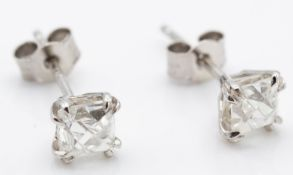 Platinum & French Cut Diamond Earrings Studs