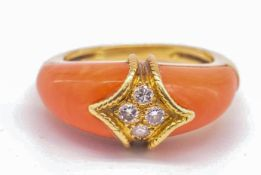 French 18ct Gold Coral & Diamond Dome Ring
