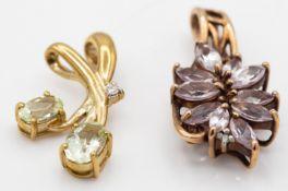 Two 9ct Gold & Gem Set Necklace Pendants