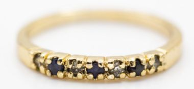 9ct Yellow Gold Sapphire & Diamond Seven Stone Ring