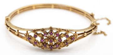 9ct Gold Hallmarked Ruby Cluster Bracelet Bangle