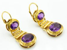A Pair of Italian 18ct Gold Amethyst & Diamond Drop Earrings