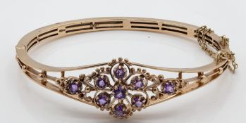 9ct Gold Hallmarked Amethyst Knife Bar Bangle