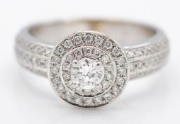 9ct White Gold & Diamond Halo Style Cluster Ring