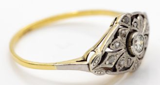 Art Deco Gold & Platinum Plaque Ring