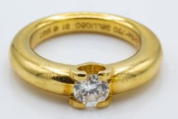 A Cartier 18ct Gold & Diamond Solitaire Ring