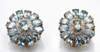 A Pair of 9ct Gold Aquamarine & Diamond Cluster Earrings
