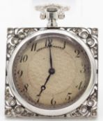 A 1920'S ANSORENA MADRID PLATINUM & DIAMOND PENDANT WATCH