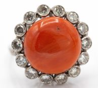 Platinum Diamond & Coral Cabochon Ring.