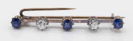 An Antique Gold Sapphire & Diamond Bar Brooch Pin