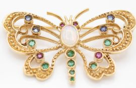 9ct Gold Opal, Sapphire, Emerald and Ruby Butterfly Brooch