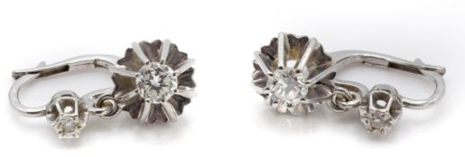 A Pair of French 18ct White Gold & Diamond Drop Earrings