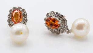 Pair of Yellow Gold 9ct Diamond Citrine & Pearl Drop Earrings