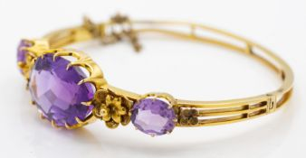 Victorian 15ct Gold Amethyst Bangle Bracelet