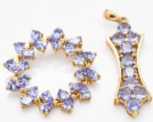 Two 9ct Gold & Tanzanite Necklace Pendants