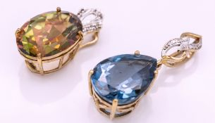 Two 9ct Gold & Topaz Necklace Pendants