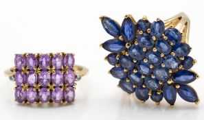 Two Hallmarked 9ct Yellow Gold & Sapphire Cluster Rings