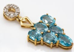 9ct Gold Zircon & Sapphire Necklace Pendant