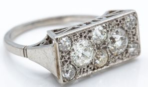 A French Art Deco Platinum Diamond Ring