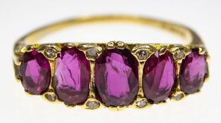 1970S HALLMARKED RUBY AND DIAMOND RING