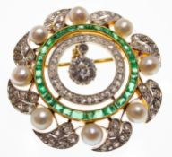 18ct Gold Emerald and Diamond Garland Brooch Pendant
