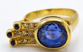 A French 18ct Gold Sapphire & Diamond Cocktail Ring