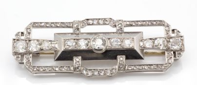 A French Art Deco Platinum 18ct Gold Diamond Plaque Brooch